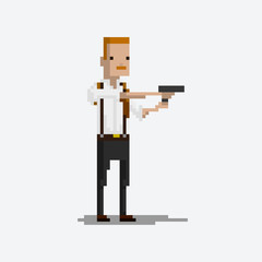 Pixel character of a policeman detective for games and applications