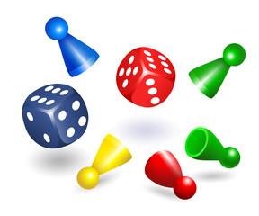 Spielwürfel, in rot und blau, Spielfiguren, Spielsteine, Halmakegel, Halmafigur, farbige Pöppel Figuren aus Kunststoff für Gesellschaftsspiele,  Vektor illustration isoliert auf weißem Hintergrund