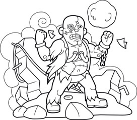 Cartoon funny frankenstein coloring book