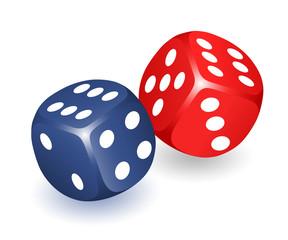 Würfel, Zwei Spielwürfel,  Präzisionswürfel rot und blau, Vektor illustration isoliert auf weißem Hintergrund