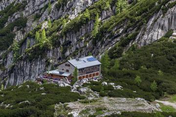 Alpenhütte vor bewalteter Bergwand