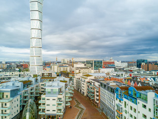Aerial view of the west harbor area with the Turning Torso skyscraper in Malmo, Sweden - July 28, 2017