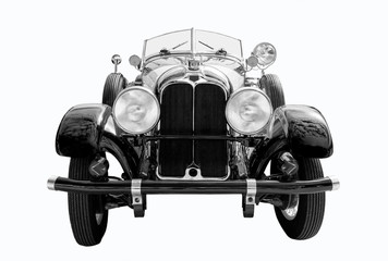 Black vintage car shot on white background