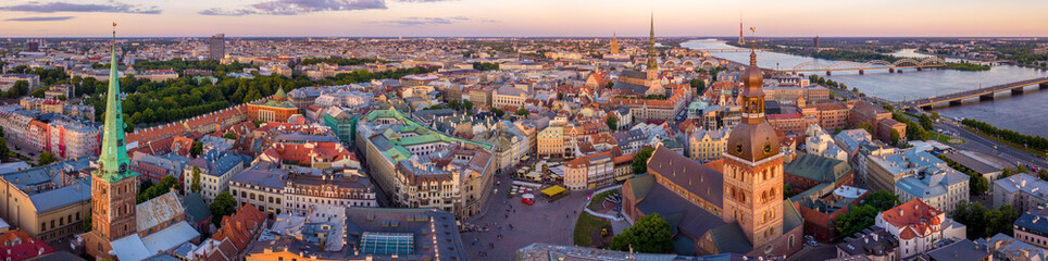 Fototapete - Beautiful Riga old town panoramic view from above