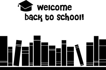 Welcome Back to School Books on a Shelf Isolated Vector Graphic Illustration Design