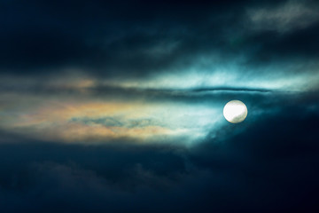 Mysterious Full Moon background, with beautiful Clouds.