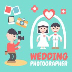 Wedding Photographer, Vector Illustration. Flat Design Elements.
