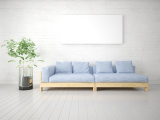 Mock up a bright living room with an unusual sofa on a trendy background.