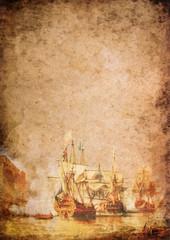 Altes Papier mit historischer Darstellung von Segelschiffen in einer Seeschlacht