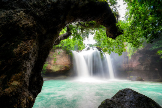 Amazing beautiful waterfalls in tropical forest at Haew Suwat Waterfall in Khao Yai National Park, Nakhonratchasima, Thailand
