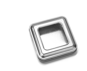 Metal silver box isolated on white background