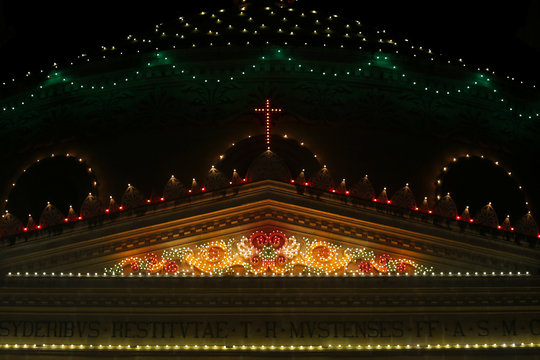 The Church of the Assumption of Our Lady, commonly known as the Rotunda of Mosta, is illuminated by thousands of light bulbs during week-long celebrations marking the feast of the Assumption of Our Lady in Mosta