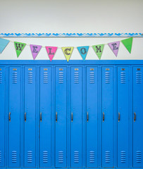 Lockers and a cheerful banner to welcome students back to school