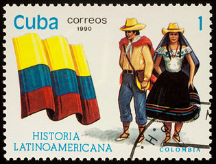 Man and woman in Colombian national costumes