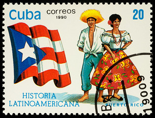 Man and woman in traditional costumes of Puerto Rico