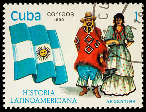 Man and woman in Argentinian national costumes