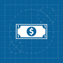 Vector blueprint one dollar on engineer and architect background .
