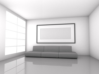 Living room with empty poster interior background, 3D render