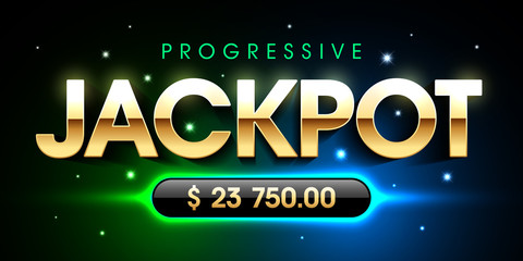 Progressive Jackpot casino gambling games banner template, big win