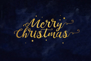 Wall Mural - Gold Merry Christmas Typography with Stars Over Textured Blue Background