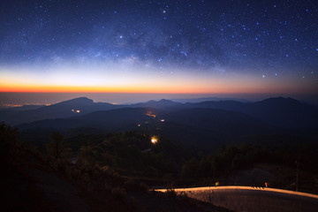 milky way galaxy over moutain before sunrise on Doi inthanon Chiang mai, Thailand.