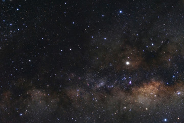 The center of milky way galaxy with stars and space dust in the universe