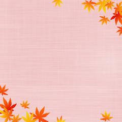 秋のイメージ 布地の背景に紅葉