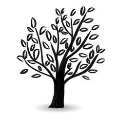 Leaf tree crayon plants Hand drawn Sketch graffiti style design drawing black illustration simple
