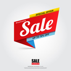 Sale banner design template with creative ideas.