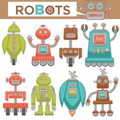 Robots and transformers retro cartoon toys flat icons set