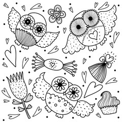 Owls, love and sweets. Coloring page.