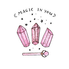 Watercolor and ink hand painted pink crystals and wand isolated on the white background. Magic in you.