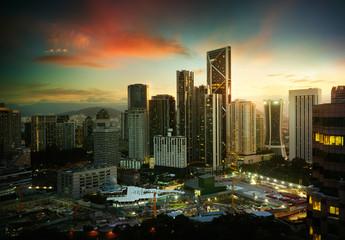 Cityscape with modern and developmental ,twilight scene ,Kuala Lumpur ,Malaysia .