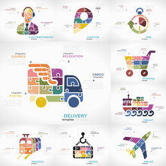 Delivery infographic collection pack with Customer Service, Location, Time, Shopping, Freight, Railroad, Goods and Airline puzzle illustrations