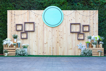 Beautiful wedding backdrop and decorations flowers outdoor - You can insert name.