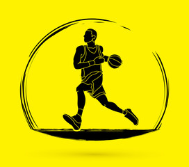Basketball player running graphic vector