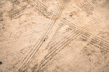 Tire tracks on dirt road