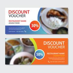 Discount voucher asian food template design. Japanese set