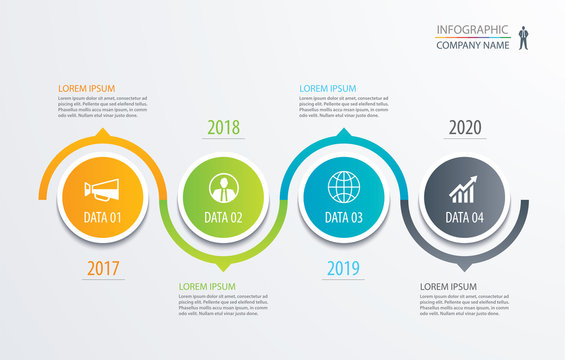 4 circle timeline infographic template business concept background. Vector can be used for workflow layout, diagram, number step up options, web design ,annual report