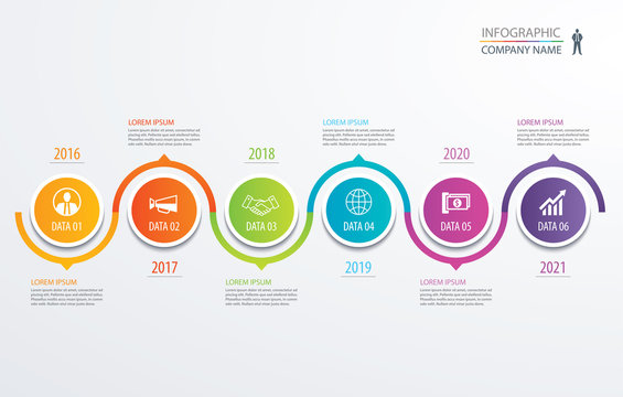 6 circle timeline infographic template business concept background. Vector can be used for workflow layout, diagram, number step up options, web design ,annual report