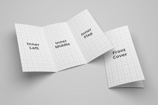 US Letter tri fold brochure 3D illustration mockup with grid No. 1