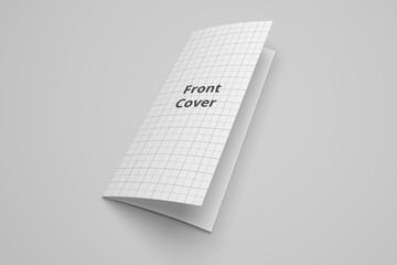 US Letter tri fold brochure 3D illustration mockup with grid No. 3