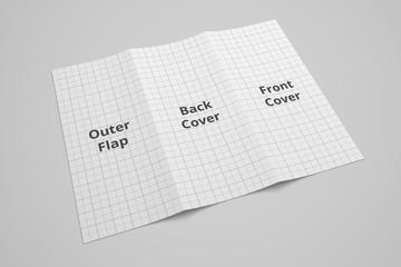 US Letter tri fold brochure 3D illustration mockup with grid No. 5