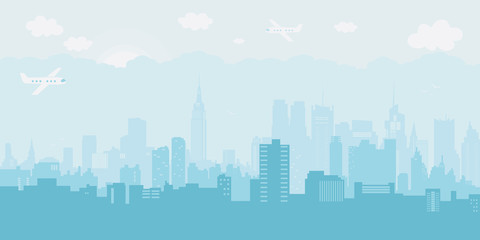 Silhouette of the city in a day. Vector illustration