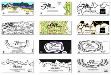 Set of Gift voucher. Vector, illustration.