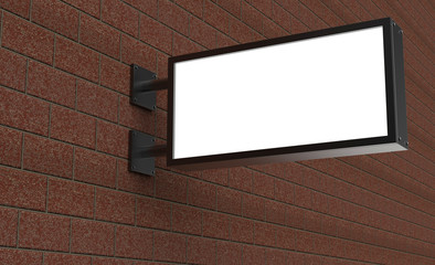 Backlit signage board, led glow advertising board, vinyl company sign on brick wall. Wall mural