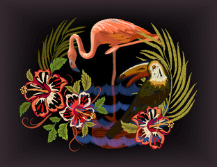 Tropical leaves. Exotic blossom Toucan and Flamingo Jungle arrangement. Floral Embroidered Pattern for Fabric. Embroidery tropical birds, Hawaii symbol hibiscus. EPS Vector illustration
