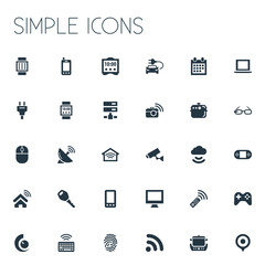 Vector Illustration Set Of Simple Internet Icons. Elements Socket, Game Controller, Wireless Connection And Other Synonyms Lock, Internet And Keypad.