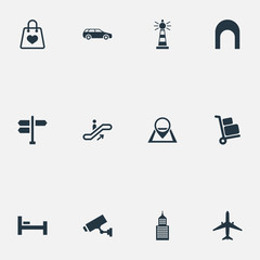 Vector Illustration Set Of Simple Infrastructure Icons. Elements Supervision, Pin, Bag And Other Synonyms Direction, Bedstead And Skyscraper.