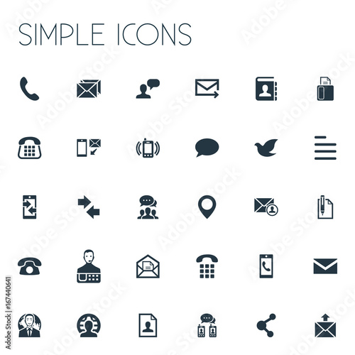u0026quot vector illustration set of simple contact icons  elements pin  resume  new